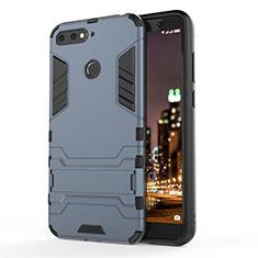Custodia Silicone e Plastica Opaca Cover con Supporto A01 per Huawei Honor 7A Blu