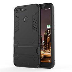 Custodia Silicone e Plastica Opaca Cover con Supporto A01 per Huawei Honor 7A Nero