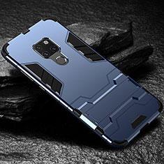 Custodia Silicone e Plastica Opaca Cover con Supporto A01 per Huawei Mate 20 Blu