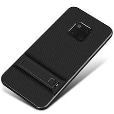 Custodia Silicone e Plastica Opaca Cover con Supporto A01 per Huawei Mate 20 Pro Nero