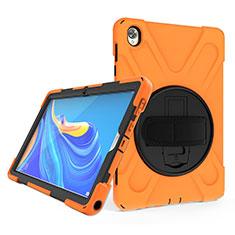 Custodia Silicone e Plastica Opaca Cover con Supporto A01 per Huawei MatePad 10.8 Arancione