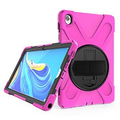 Custodia Silicone e Plastica Opaca Cover con Supporto A01 per Huawei MatePad 10.8 Rosa Caldo