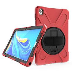 Custodia Silicone e Plastica Opaca Cover con Supporto A01 per Huawei MatePad 10.8 Rosso