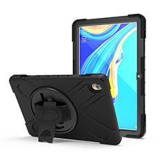 Custodia Silicone e Plastica Opaca Cover con Supporto A01 per Huawei MediaPad M6 10.8 Nero