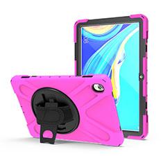 Custodia Silicone e Plastica Opaca Cover con Supporto A01 per Huawei MediaPad M6 10.8 Rosa Caldo