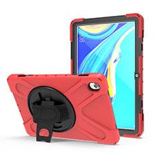 Custodia Silicone e Plastica Opaca Cover con Supporto A01 per Huawei MediaPad M6 10.8 Rosso
