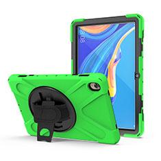 Custodia Silicone e Plastica Opaca Cover con Supporto A01 per Huawei MediaPad M6 10.8 Verde