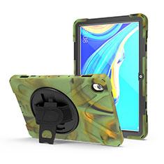 Custodia Silicone e Plastica Opaca Cover con Supporto A01 per Huawei MediaPad M6 10.8 Verde Militare