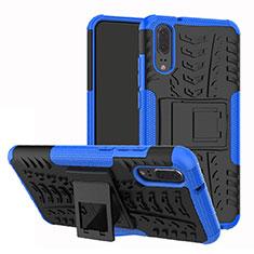 Custodia Silicone e Plastica Opaca Cover con Supporto A01 per Huawei P20 Blu