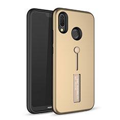 Custodia Silicone e Plastica Opaca Cover con Supporto A01 per Huawei P20 Lite Oro