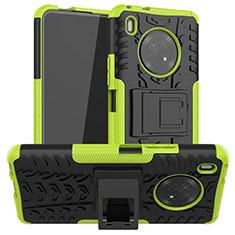 Custodia Silicone e Plastica Opaca Cover con Supporto A01 per Huawei Y9a Verde