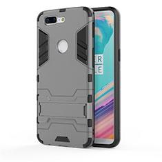 Custodia Silicone e Plastica Opaca Cover con Supporto A01 per OnePlus 5T A5010 Grigio
