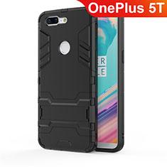 Custodia Silicone e Plastica Opaca Cover con Supporto A01 per OnePlus 5T A5010 Nero