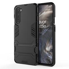 Custodia Silicone e Plastica Opaca Cover con Supporto A01 per OnePlus Nord Nero