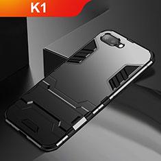 Custodia Silicone e Plastica Opaca Cover con Supporto A01 per Oppo K1 Nero