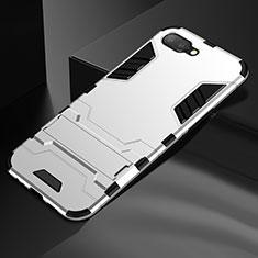 Custodia Silicone e Plastica Opaca Cover con Supporto A01 per Oppo R17 Neo Argento