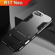 Custodia Silicone e Plastica Opaca Cover con Supporto A01 per Oppo R17 Neo Nero