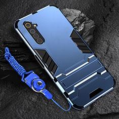Custodia Silicone e Plastica Opaca Cover con Supporto A01 per Realme 6 Blu