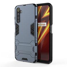 Custodia Silicone e Plastica Opaca Cover con Supporto A01 per Realme 6 Pro Blu