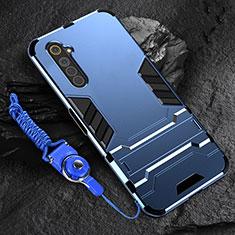 Custodia Silicone e Plastica Opaca Cover con Supporto A01 per Realme 6s Blu