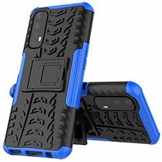 Custodia Silicone e Plastica Opaca Cover con Supporto A01 per Realme 7 Blu