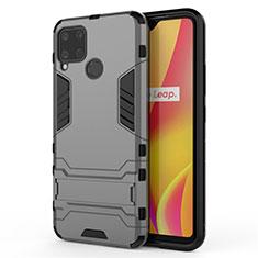 Custodia Silicone e Plastica Opaca Cover con Supporto A01 per Realme C15 Grigio
