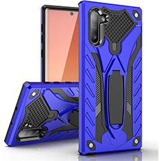 Custodia Silicone e Plastica Opaca Cover con Supporto A01 per Samsung Galaxy Note 10 5G Blu