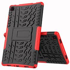 Custodia Silicone e Plastica Opaca Cover con Supporto A01 per Samsung Galaxy Tab A7 4G 10.4 SM-T505 Rosso