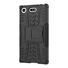 Custodia Silicone e Plastica Opaca Cover con Supporto A01 per Sony Xperia XZ1 Compact Nero