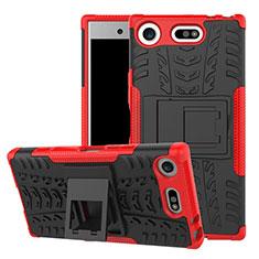 Custodia Silicone e Plastica Opaca Cover con Supporto A01 per Sony Xperia XZ1 Compact Rosso