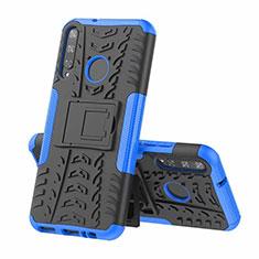 Custodia Silicone e Plastica Opaca Cover con Supporto A02 per Huawei Y7p Blu