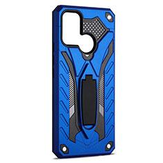 Custodia Silicone e Plastica Opaca Cover con Supporto A02 per Realme C17 Blu