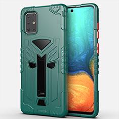 Custodia Silicone e Plastica Opaca Cover con Supporto A02 per Samsung Galaxy A71 5G Verde