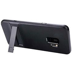 Custodia Silicone e Plastica Opaca Cover con Supporto A02 per Samsung Galaxy S9 Nero