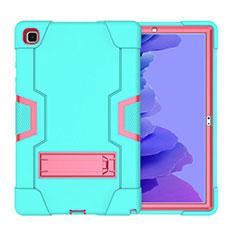 Custodia Silicone e Plastica Opaca Cover con Supporto A02 per Samsung Galaxy Tab A7 4G 10.4 SM-T505 Ciano