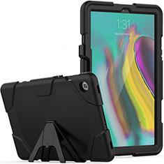 Custodia Silicone e Plastica Opaca Cover con Supporto A02 per Samsung Galaxy Tab S5e 4G 10.5 SM-T725 Nero