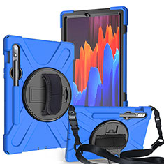 Custodia Silicone e Plastica Opaca Cover con Supporto A02 per Samsung Galaxy Tab S7 4G 11 SM-T875 Blu