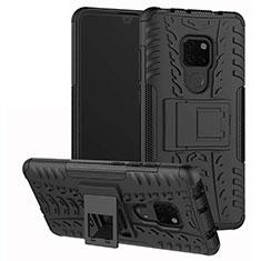 Custodia Silicone e Plastica Opaca Cover con Supporto A03 per Huawei Mate 20 Nero