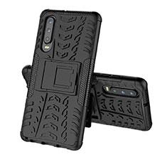 Custodia Silicone e Plastica Opaca Cover con Supporto A03 per Huawei P30 Nero