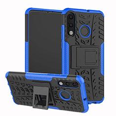 Custodia Silicone e Plastica Opaca Cover con Supporto A04 per Huawei P30 Lite Blu