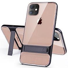 Custodia Silicone e Plastica Opaca Cover con Supporto A06 per Apple iPhone 11 Nero