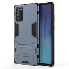 Custodia Silicone e Plastica Opaca Cover con Supporto N01 per Samsung Galaxy Note 20 5G Blu