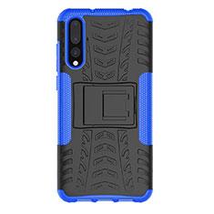 Custodia Silicone e Plastica Opaca Cover con Supporto P02 per Huawei P20 Pro Blu