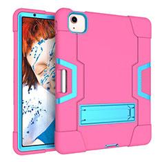 Custodia Silicone e Plastica Opaca Cover con Supporto per Apple iPad Air 10.9 (2020) Rosa Caldo