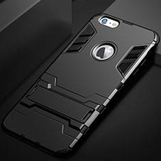 Custodia Silicone e Plastica Opaca Cover con Supporto per Apple iPhone 6 Plus Nero