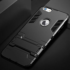 Custodia Silicone e Plastica Opaca Cover con Supporto per Apple iPhone 6S Nero