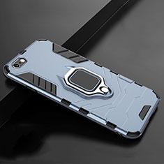 Custodia Silicone e Plastica Opaca Cover con Supporto per Apple iPhone 7 Blu