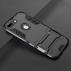 Custodia Silicone e Plastica Opaca Cover con Supporto per Apple iPhone 7 Plus Nero