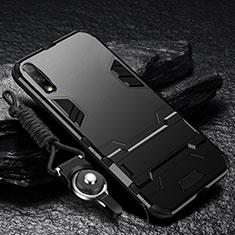 Custodia Silicone e Plastica Opaca Cover con Supporto per Huawei Enjoy 10 Nero