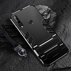 Custodia Silicone e Plastica Opaca Cover con Supporto per Huawei Enjoy 10 Plus Nero